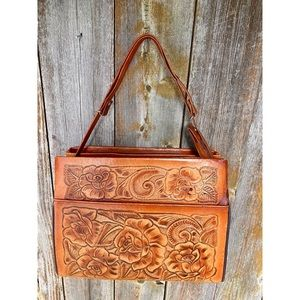 VINTAGE tooled genuine leather floral shoulder bag